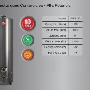 termotanque rheem pie alta potencia 160L GN
